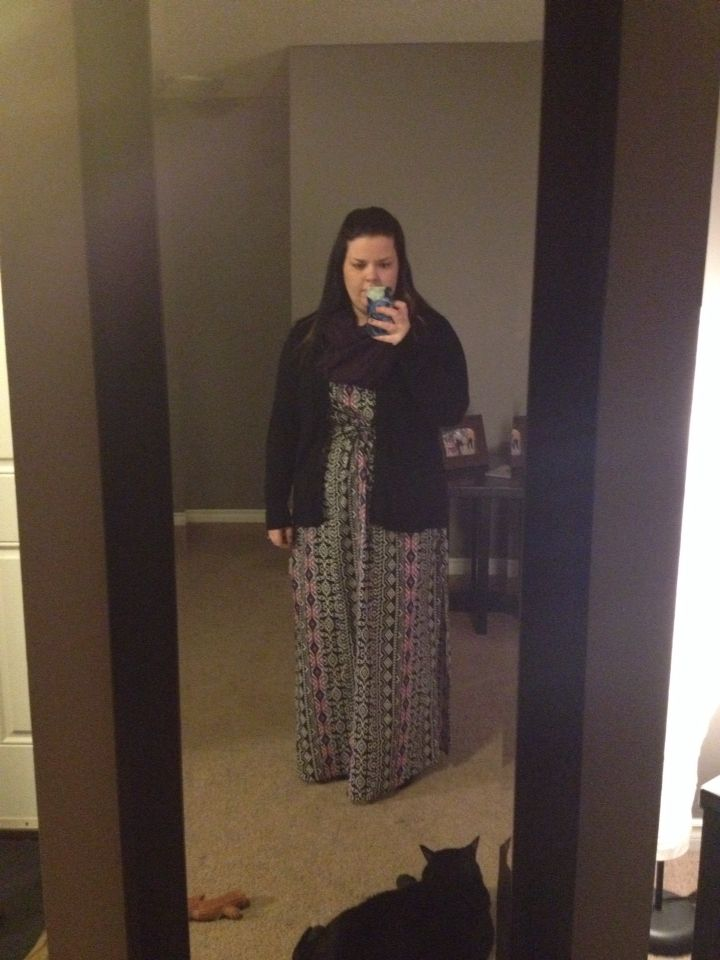 Maxi dress in the winter with a scarf boots and cardi. Cozy and comfy.
