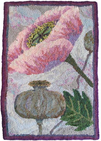 """<strong>The Three Stages of Womanhood</strong>, <em>28"""" x 20"""", #12-cut wool on Micarelli linen. Designed, dyed, and hooked by Wanda Kerr, Wiarton, Ontario, 2016.</em><br /> <br /> It is a fact of rug hooking: if you've hooked a rug, you've hooked some type of background.<br /> <br /> I..."""