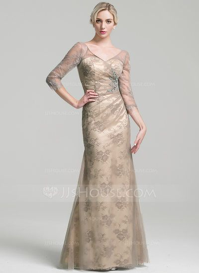 [US$ 169.99] Sheath/Column V-neck Floor-Length Tulle Mother of the Bride Dress With Ruffle Beading Sequins (008091966)