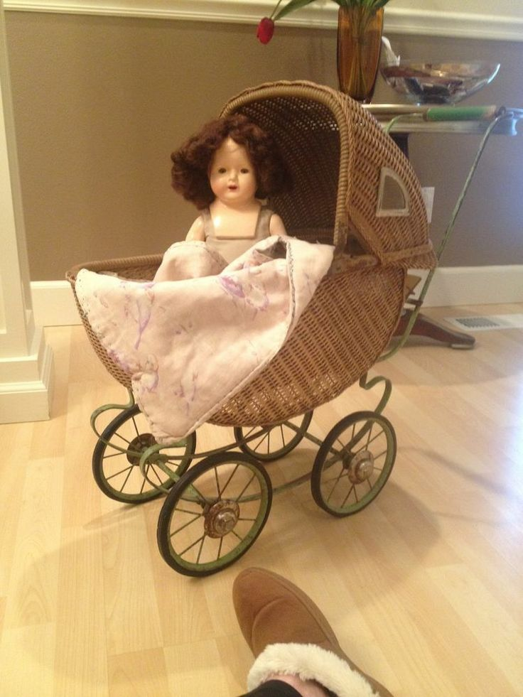 "1920 - 1930 ""Mary Lu"" Doll Buggy Cart & 19"" Mama Composition Doll - One Owner"