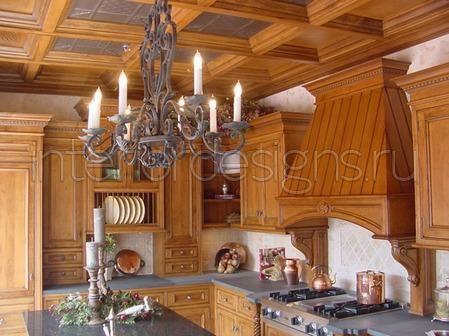 потолок из деревянных балок-Beautiful kitchen interior in the style of Russian soul