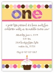 Cupcake Dots First Birthday Girl Invitation