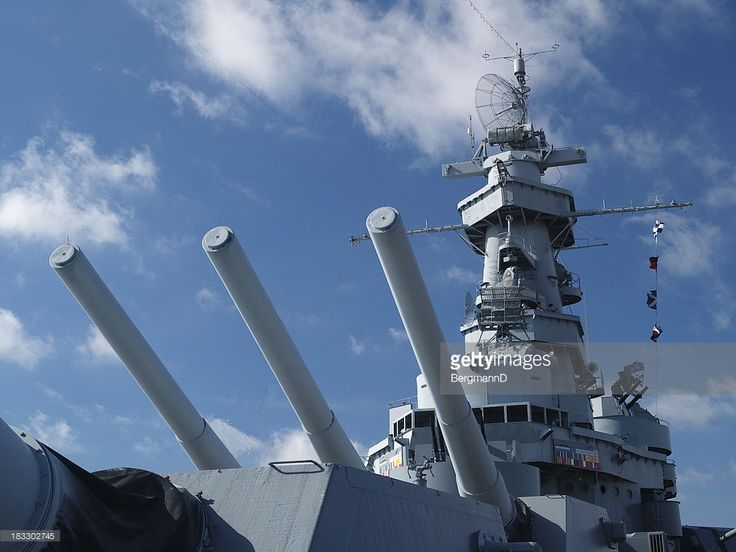 'Sixteen-inch gun turret and superstructure of the battleship USS Alabama (BB-60), a museum and National Historic Landmark in Mobile, Alabama.More images of the USS Alabama from my portfolio:'