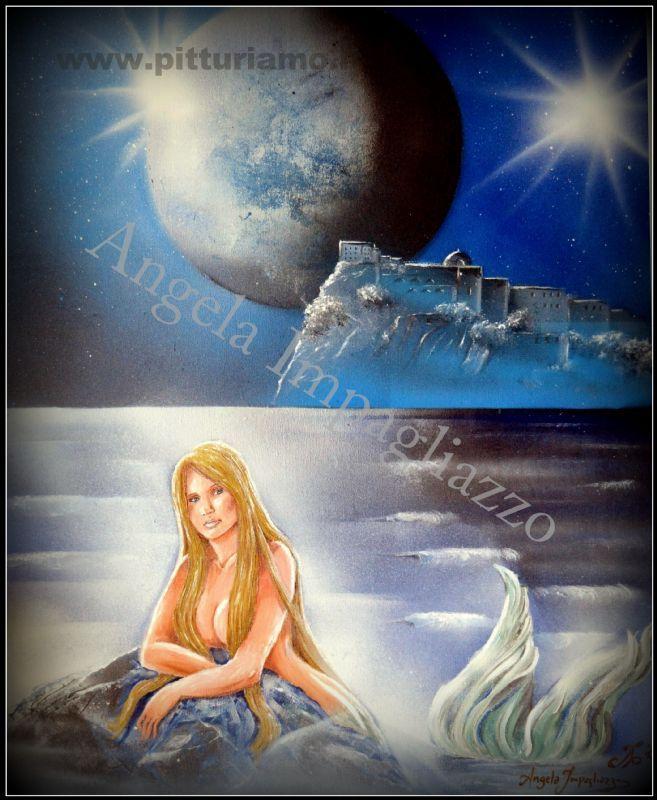 quadro realizzato dal pittore contemporaneo ANGELAIMPAGLIAZZO - castello al chiaro di luna