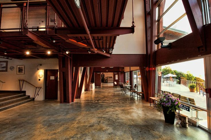 The Atrium leads to the Patio at the Charles W. Stockey Centre in Parry Sound, ON.