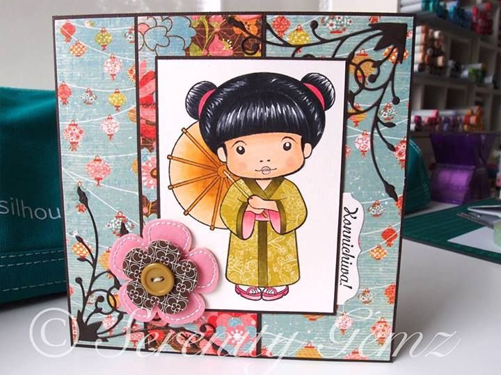 handmade greeting card: LaLa-Land Marci by Kim Chong ....  Asian theme ... sweet little girl with parasol  ...