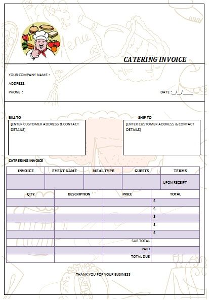 30 best Catering Invoice Templates images on Pinterest Free - plumbing receipt