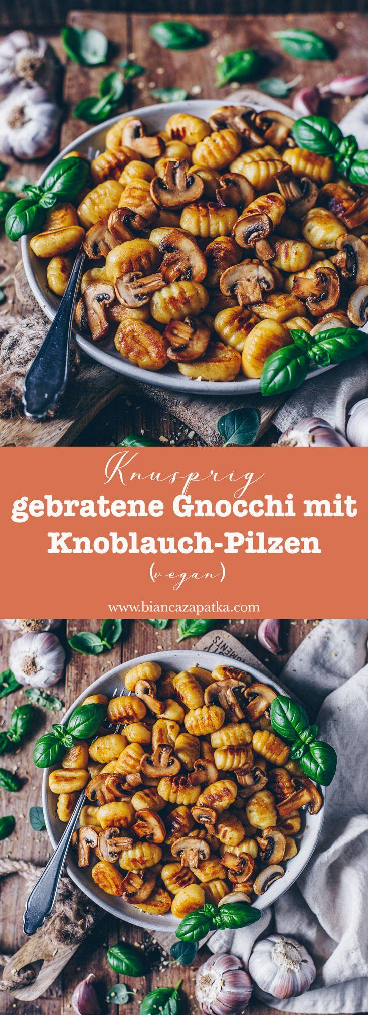 Knusprig gebratene Gnocchi mit Knoblauch-Pilzen (vegan