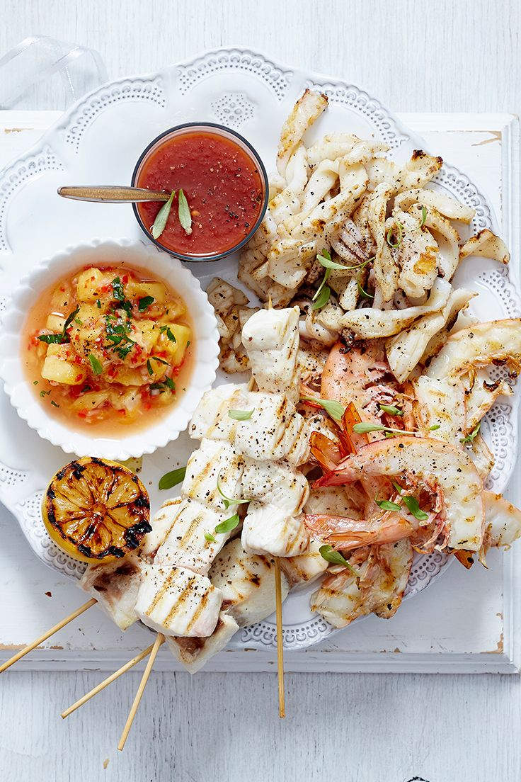 A feast from the sea is just what your Christmas spread needs! This delicious platter, packed with prawns, fish skewers and squid, makes a beautiful addition to any family meal these holidays.