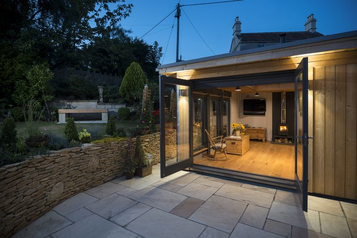 Lower Ground Floor Extension, Large Timber French Doors onto Patio Sunken Terrace Patio Bristol