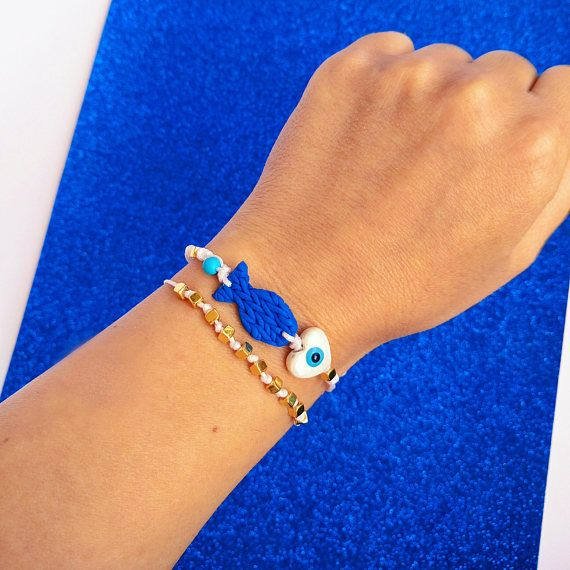 Summer Fish Bracelet Set, Polymer Clay, Evil Eye, White and Blue