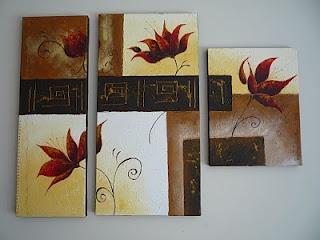 Bastidores de tela, Base acrilica,flores en oleo y detalles en pintura relieve