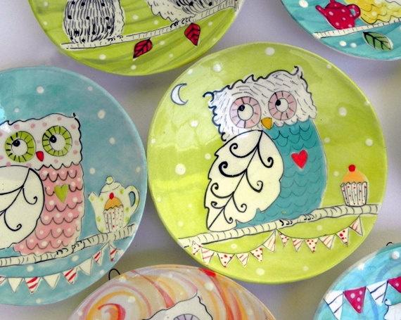 Owl Plate by joyelizabethceramics on Etsy, $22.00