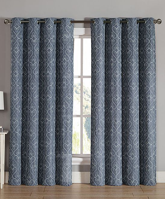 Blue Trista Extra Wide Curtain Panel - Set of Two