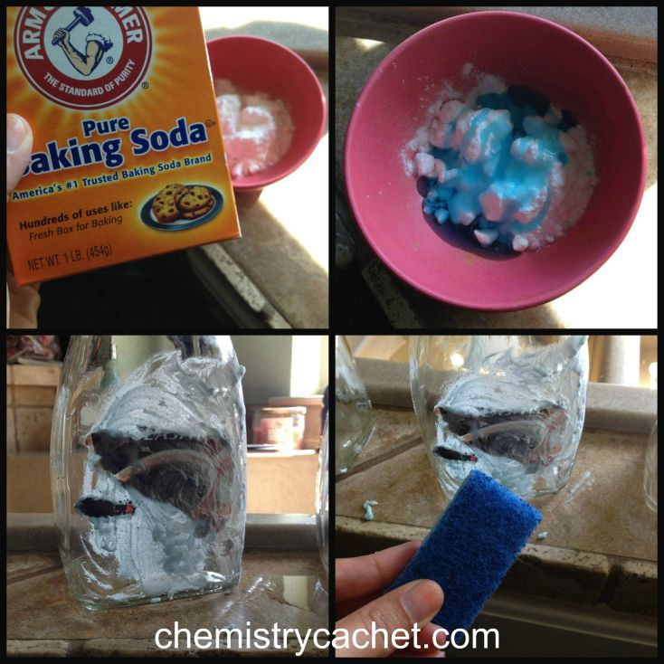 Easy way to remove labels from jars just like a chemist on chemistrycachet.com - Use equal parts of Baking Soda and Dawn, let sit a few mins. and then scrub off