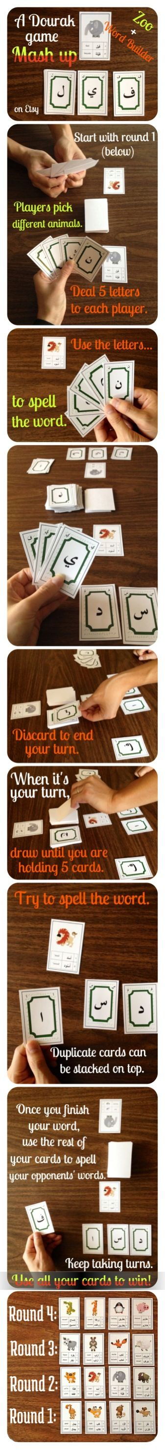 A Dourak game mash up!  Use the Zoo cards and the Word Builder cards to play this fun game in four exciting rounds!