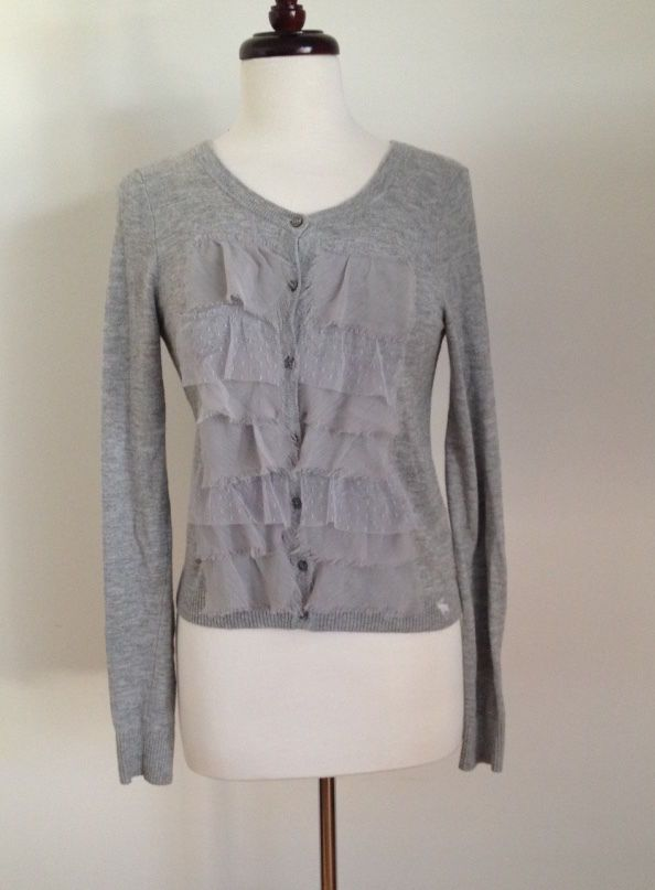 Abercrombie and Fitch Womens M Gray Sweater Long Sleeve Cardigan Fabric Ruffles  #AbercrombieFitch #Cardigan #WorkCasual