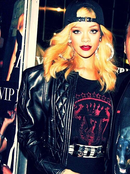 Rihanna street/ tom boy style. Backwards hat, graphic t, leather jacket.
