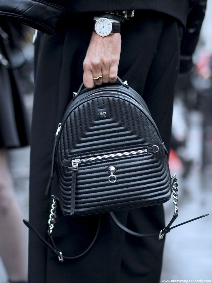 pfw street style march i paris fashion week march fendi backpack