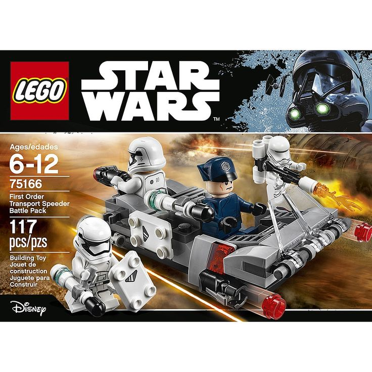 Support the Imperial troops with the First Order Transport Speeder Battle Pack. Send enemy forces running for cover with the stud shooters and detach the shields and batons to arm the Stormtroopers. Then fire up the Flametrooper's flamethrower and march into battle!<BR><BR>Expand your LEGO Star Wars forces with the First Order Transport Speeder Battle Pack, featuring space for two minifigures, front and rear stud shooters, and detachable stud blasters, batons and new-for-June-...