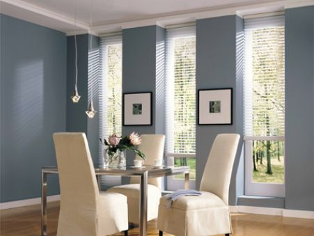 Slate blue walls grey couch cream chairs and pillow for Dining room wall colors