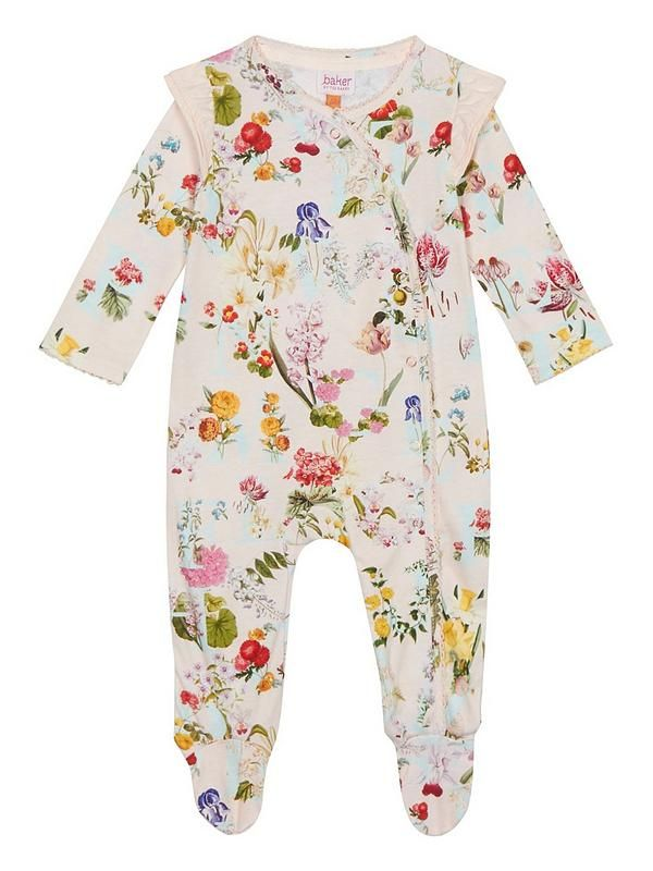 Baby Girls Light Pink Floral Print Sleepsuit