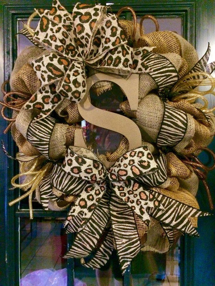 A personal favorite from my Etsy shop https://www.etsy.com/listing/206507825/fall-animal-print-monogram-burlap-wreath