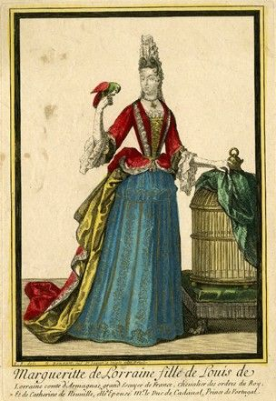 Portrait of Marguerite de Lorraine; whole-length, standing slightly directed to the right with her head turned to the left, wearing fontange and mantua with red overgown over a blue petticoat; with her left hand she lifts a curtain covering a cage; a para