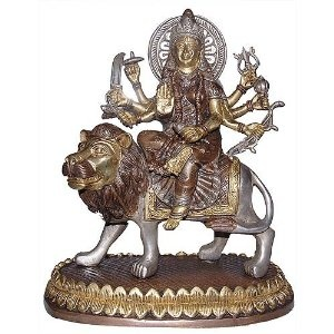 Godess Durga Sitting On Lion Religious Gifts Collectible Figurines Made in Brass 13.33 cm x 24.13 cm x 11.43 cm: Amazon.co.uk: Kitchen & Home