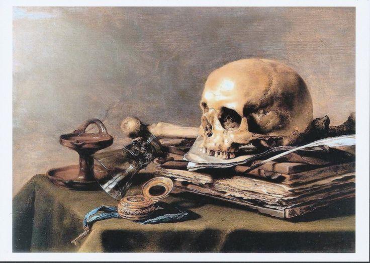 Pieter Claesz Print Portrait Vanitas Still Life Vanity Skull Bone Quill Pen Ink