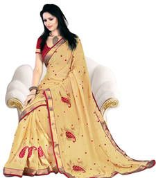 Buy Triveni Alluring Golden Embroidered Chiffon Saree 2005 party-wear-saree online