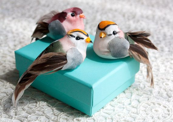 Mushroom Birds 12 Assorted Artificial Birds With Real Feathers 3.5 Inches Long on Etsy, £9.12