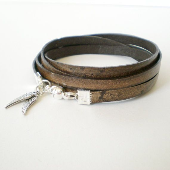 distressed brown leather wrap bracelet unisex cuff by jcudesigns