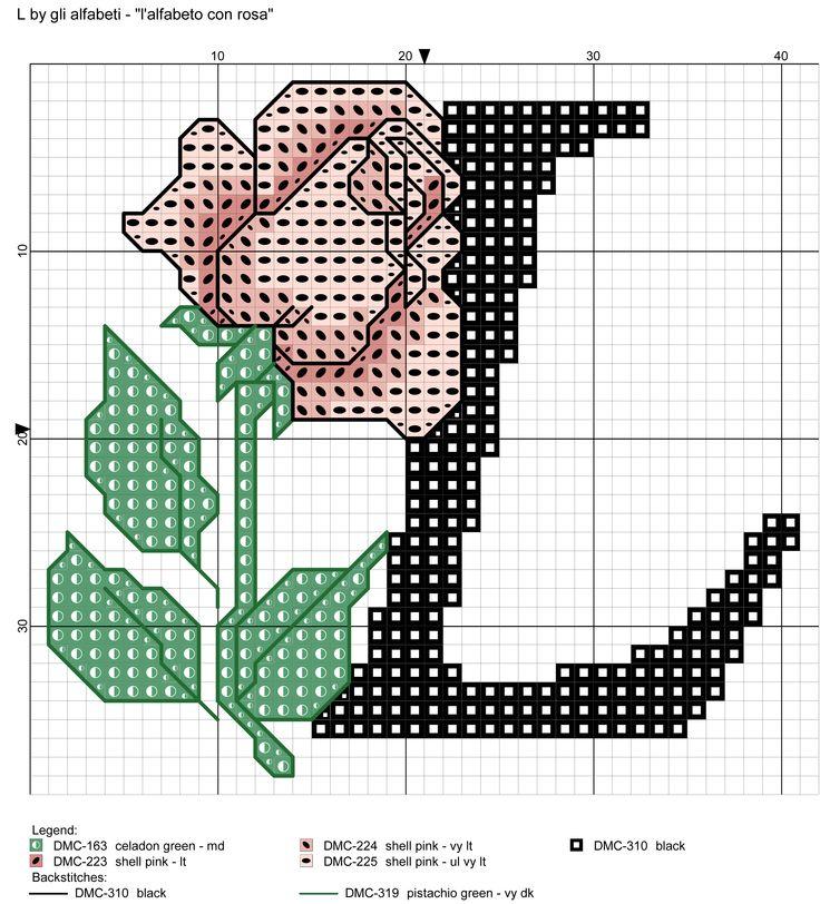 alfabeto con rosa: L