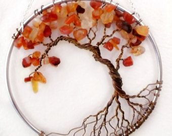 Árbol de la vida del alambre amatista colgante de pared