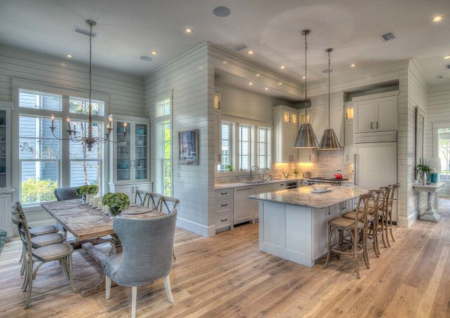 Kitchen. Beach house kitchen with tongue and groove walls. #Kitchen #BeachHouse #TongueandGroove Christ & Associates.