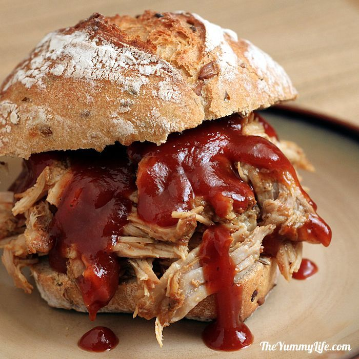Slow Cooker Pulled Pork. Easy and so succulent & delicious that you'd never believe it's low in calories and fat!