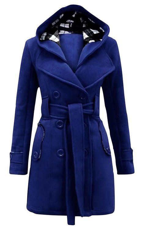 Naughty Gal Shoes : Queen Womens Winter Double Breasted Fleece Wool Outerwear Coat with Blet