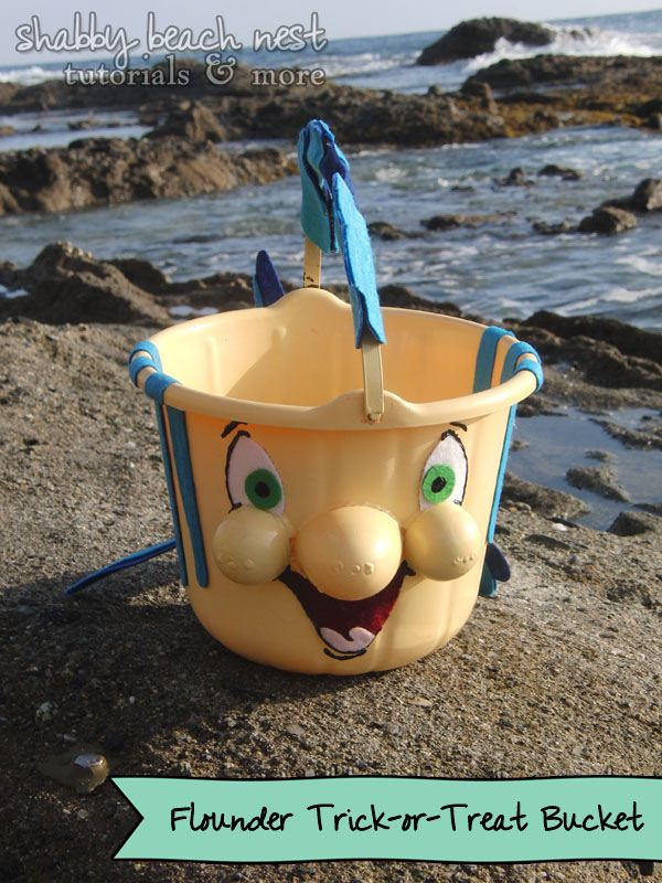 A step-by-step tutorial on how to make your own Flounder Trick-or-Treat Bucket.  Perfect accessory for any Little Mermaid!