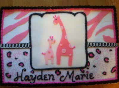 Pink Safari Girl Babyshower Cake