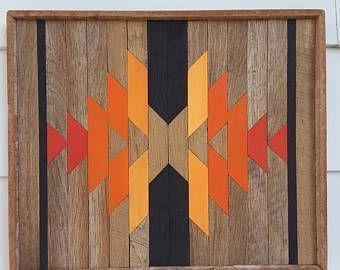 Rustic Reclaimed Wood Wall Art, Santa Fe Style, Decor, Fall Art, Autumn Decoration, Barn Wood ,Oak Wood, Southwest, Geometric, Gift Ideas