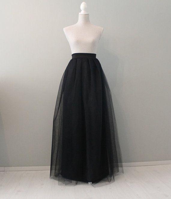 Plus size black maxi tulle skirt plus size tulle by Batelboutique