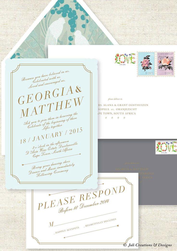 Modern Vintage Inspired Wedding Stationery with printed envelope inlay #makeitamomenttoremember