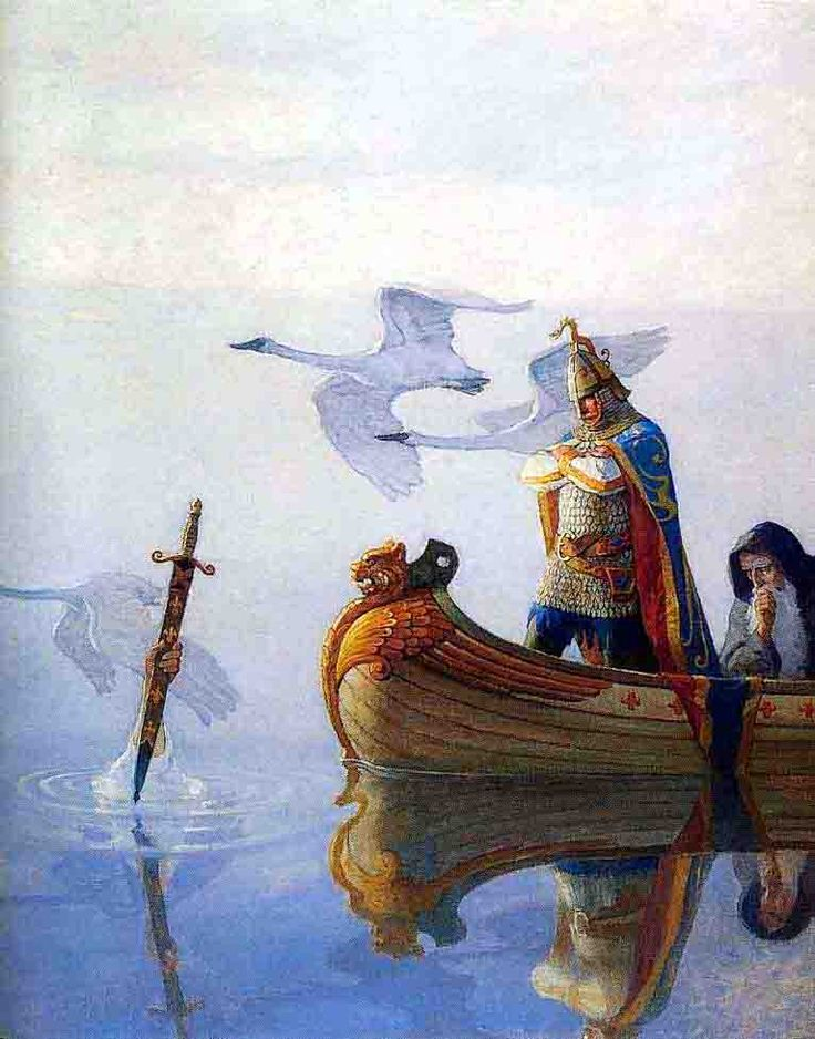 """""""And when they came to the sword that the hand held, King Arthur took it up."""" (The Boy's King Arthur, 1922)"""