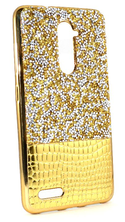 ZTE Zmax Pro (Z981) / Xmax 2 Case - Half Diamond Textured TPU Lightweight Thin Case includes Tempered Glass Protector - Yellow Gold