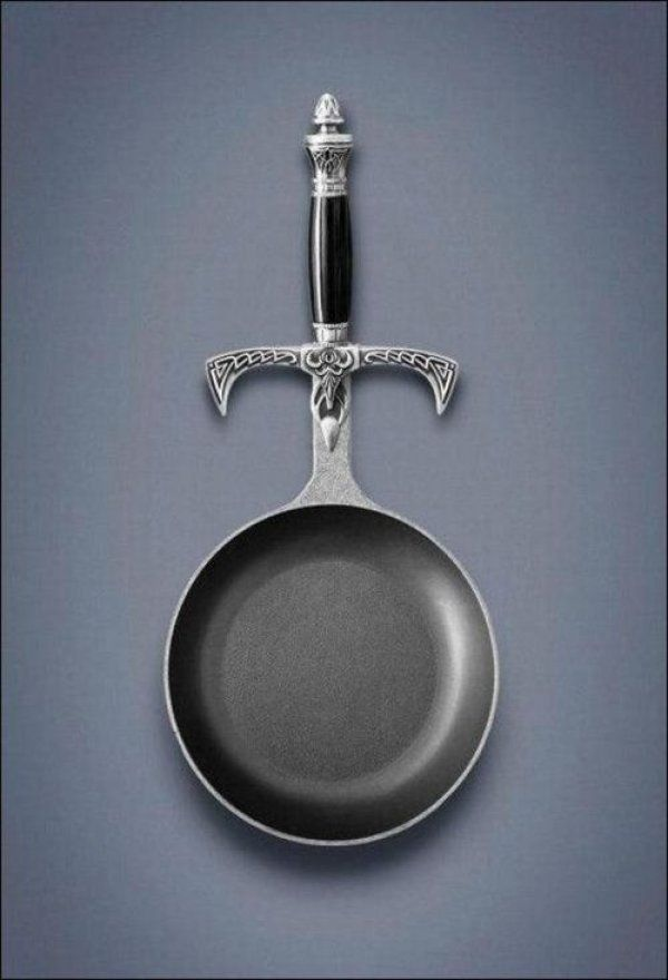 Sword Handle Frying Pan. I want this... I want this a lot.