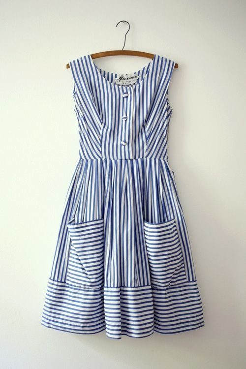 Candy stripe dress- tea dress length is always a good idea. Gives a subtle vintage edge.