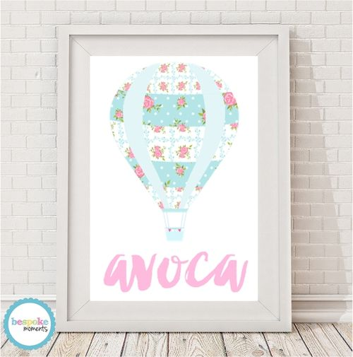 Tilda Hot Air Balloon Name Print by Bespoke Moments. Worldwide Shipping Available.