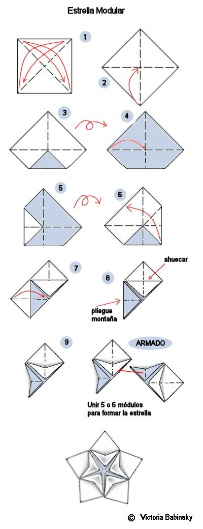 origami modular Spanish site - the white side of the paper in the diagram is the side that will show