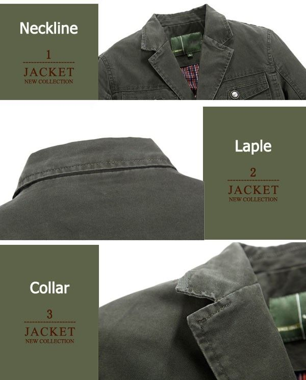 Mens Autumn Cotton Multi Pockets Single-breasted Casual Business Button Blazers Jacket Outwear